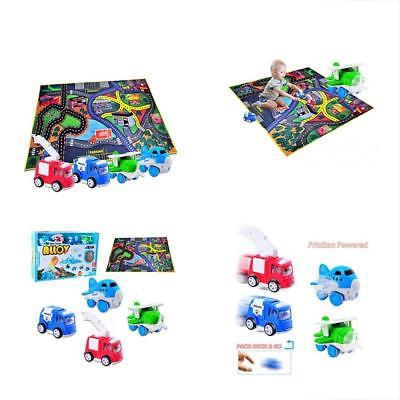 4 Play GrownUp Toys Vehicles With Large Playmat Set - Die-Cast Pull Back And My