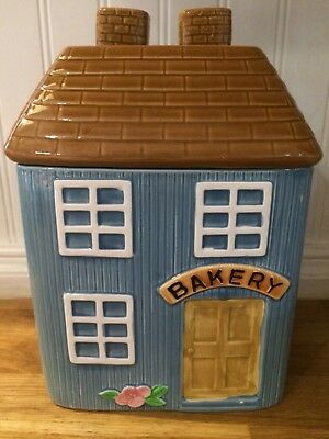 Bakery ceramic cookie jar house