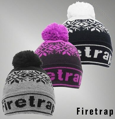 Boys Girls Firetrap Stretchy Pompom Snow Beanie Hat