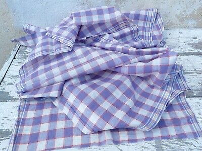 Antique 1900s French unused cotton fabric for making handkerchiefs Plaid 5 yards