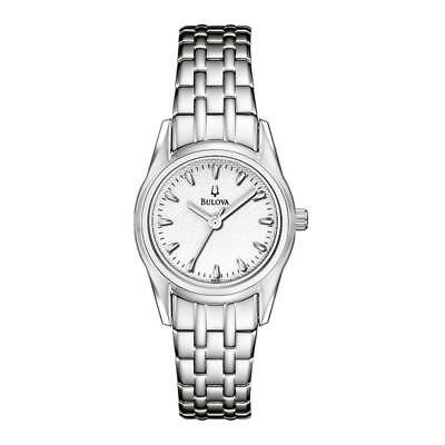 Bulova Women's Quartz White Dial Silver-Tone Bracelet 26mm Watch 96L127