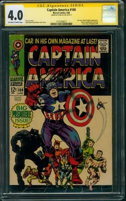 Captain America 100 CGC 4.0 SS Stan Lee Signed Jack Kirby Black Panther art 1968