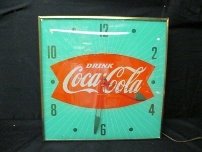 Vintage Coca Cola 1950's Pam Lighted Clock Sign Keeps Time Clean Face