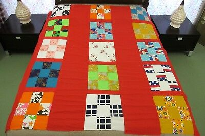 """Vintage Hand Pieced NINE PATCH All Cotton Quilt TOP, 73"""" x 77"""", Good Condition"""