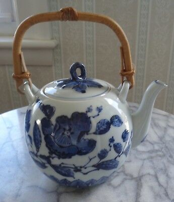 Small Fitz and Floyd Blue and White Chinese Teapot with Bamboo Handle 1976