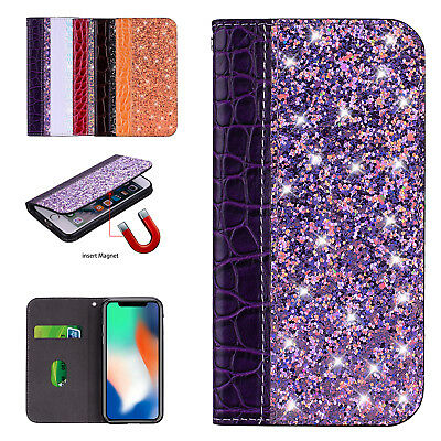 Bling Glitter Magnetic Flip Leather Card Wallet Case for iPhone XS XR 8 7 Plus 6