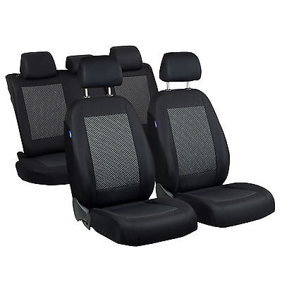 Schwarz-Graue Triangles Seat Covers for Fiat Grande Punto Car Complete