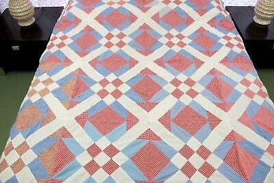 GRAPHIC Vintage Hand Pieced Gingham Cotton NINE PATCH Variation Quilt TOP; Full