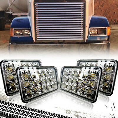 4 PCS 4X6'' High Low Beam LED Headlights H4656/4651 4 Peterbilt Kenworth W900