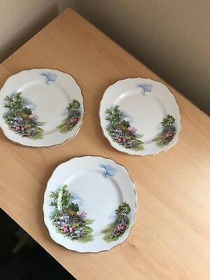 3 x Royal Vale Bone china tea plates country cottage picture