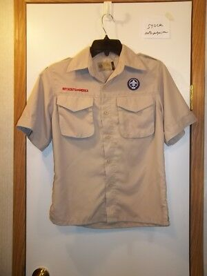 Boy Scout Uniform Tan Shirt Youth Large Short Sleeves Polyester