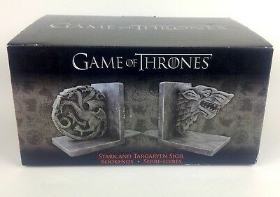 Game of Thrones Stark and Targaryen Sigil Bookends House Fantasy Rare New in Box
