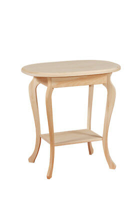 AMISH UNFINISHED RUSTIC - SHAKER LEG Oval END ACCENT Table - SOLID PINE WOOD