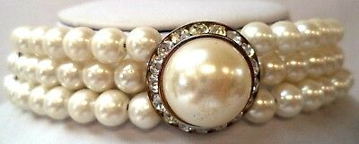 """Stunning Vintage Estate Faux Pearl Multi Tone Choker 23 7/8"""" Necklace!!! 5035R"""