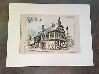 Other Architectural Antiques Art Prints Big 1865 English Harbor Town Scene Photogravure Print L.j.wood Framed