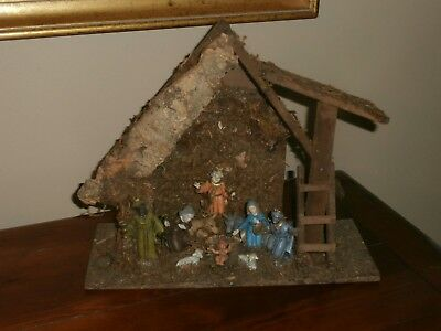Vintage Nativity Set Italy Wood Manger Stable Creche Attached Figures