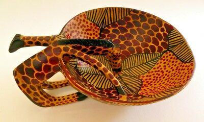 African Hand-Carved Wooden Bowl with Giraffe Made In Kenya