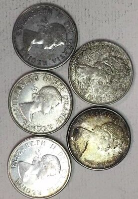 Lot of (5) CANADIAN HALF DOLLARS - FIFTY CENTS (1963-1966)- 80% SILVER -See Pics