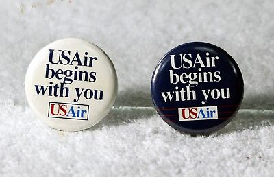 "2 Vintage US Air ""Begins with you"" Badge"
