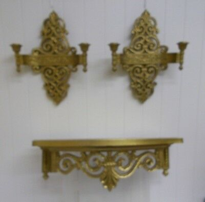 KW-222 Dart Ind Syroco Antique Gold Double Candle Holder SCONCE AND SHELF 3 PCS