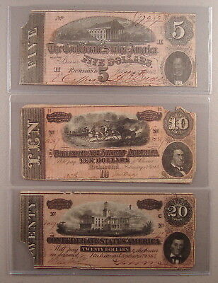 Lot of (3) 1864 Confederate Notes $5 $10 & $20