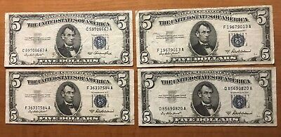 Four (4) 1953 Circulated $5 Silver Certificate Notes - Blue Seals - No Reserve