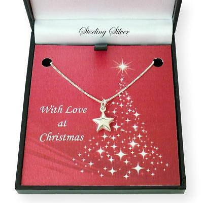 Sterling Silver Star Necklace in a Christmas Gift Box for Women or Girls