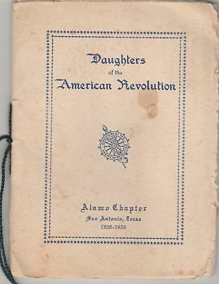 DAR Daughters of the American Revolution 1928029 Pamphlet ALAMO Chapter TEXAS