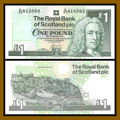 Scotland 1 Pound, 2001 P-351 Royal Bank of Scotland Edinburgh Castle Unc