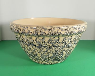 "Robinson Ransbottom Pottery RRP Spongeware Blue Mixing Bowl 10"" Roseville, OH"