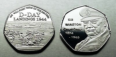 WINSTON CHURCHILL Commemorative Coin D-DAY LANDINGS Coin Hunt 50p Collectors NEW