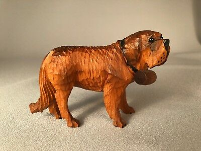 Vintage Wood Carving Of A Saint Bernard Dog With Keg, Bead Eyes, Nice!
