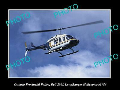OLD LARGE HISTORIC PHOTO OF ONTARIO POLICE BELL LONGRANGER HELICOPTER c1986