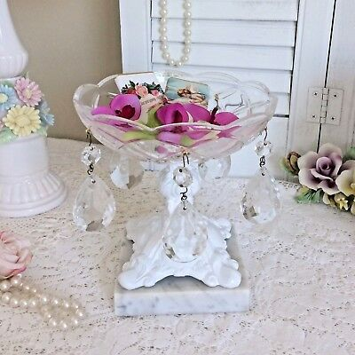 Compote Dish White Footed Pedestal Candy Bowl Vtg Marble Base Crystal Prisms