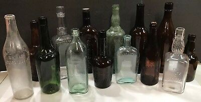 Vintage Antique Glass Bottles Whiskey Flask USA Green Amber Clear Embossed Lot