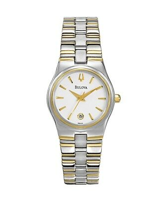 Bulova Women's Quartz White Dial Two-Tone Bracelet 26mm Watch 98M102