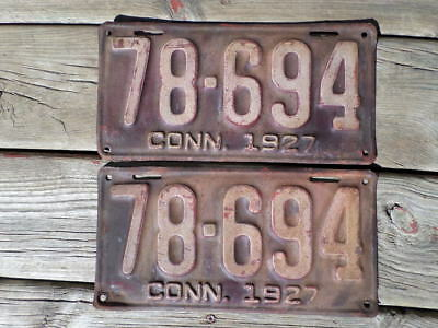 Antique VTG 1927 Connecticut License Plate Pair 78-694 YEAR OF MANUFACTURE Metal