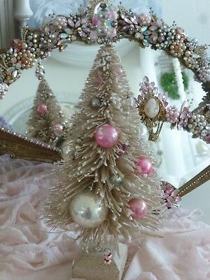 """Vintage 11"""" Creamy White Brush Christmas Tree with PINK Mercury Glass Ornaments"""
