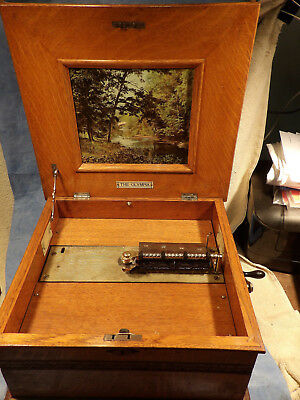 Antique Olympia Oak Case Music Box With Three Discs