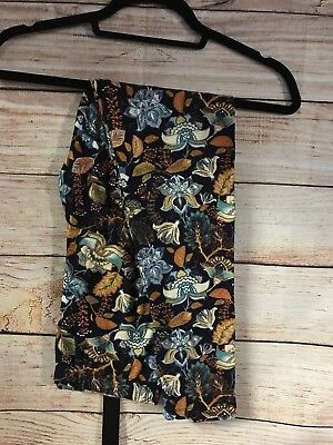 Tall and Curvy Super Soft Leggings Navy Flowers Fall Winter Forest P309N