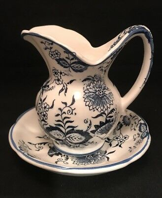 Vintage Blue On White Cream Pitcher With Saucer Floral Design