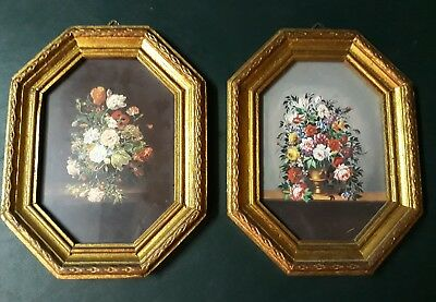 2 Vintage Italy Gold Gilt Wood Octagon Picture Frames