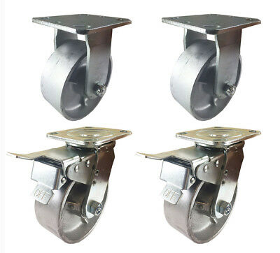 "6"" x 2""  Steel Wheel Caster - 2 Swivels with Total Lock Brake & 2 Rigids"