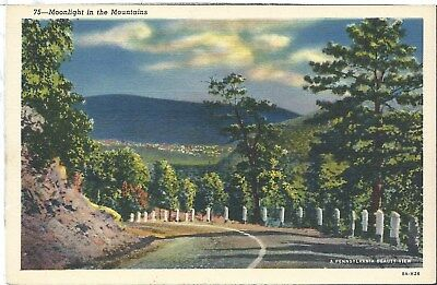Vintage Postcard Pennsylvania PA Road Night Drive in Hills Linen Teich 8A-H26