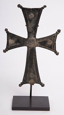 Ancient Medieval Byzantine Bronze Processional Cross, Circa 10th to 12th Century