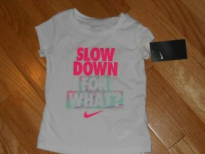 "NWT - Nike short sleeved ""Slow Down for What?"" white sparkly top - 3T girls"