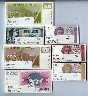 700 Uncirculated Foreign Currency Notes, Yugoslavia, Croatia, Slovenia, Bosnia