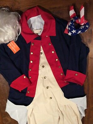 American Soldier Revolution Full Costume Theater Wig Uniform Coat Vest WORN ONCE