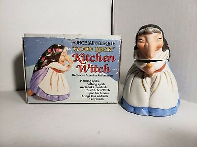 Vintage 1980 KITCHEN WITCH - Porcelain Baking Soda Holder With Original Box RARE