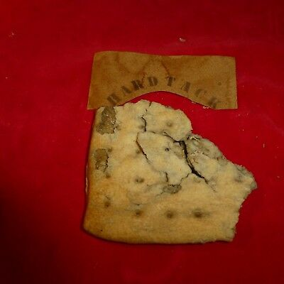 "Rare Civil War  Soldier's Hardtack Cracker With Lable ( 3 1/2"" X 3"" ) - Exc Cond"